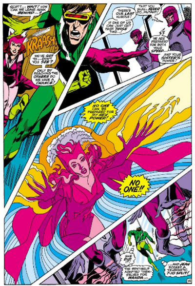 A full page depicting a battle across four dramatically slanted, asymmetrical panels. Cyclops and Scarlet Witch rush towards two Sentinels; Scarlet Witch uses her hex powers to draw their attention; Cyclops escapes while the Sentinels adapt.