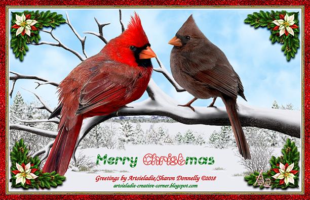 Cardinal Christmas art by/copyrighted to Artsieladie