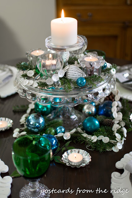 Holiday Tablescape Ideas using mostly vintage items. Love the cake stand as a centerpiece.