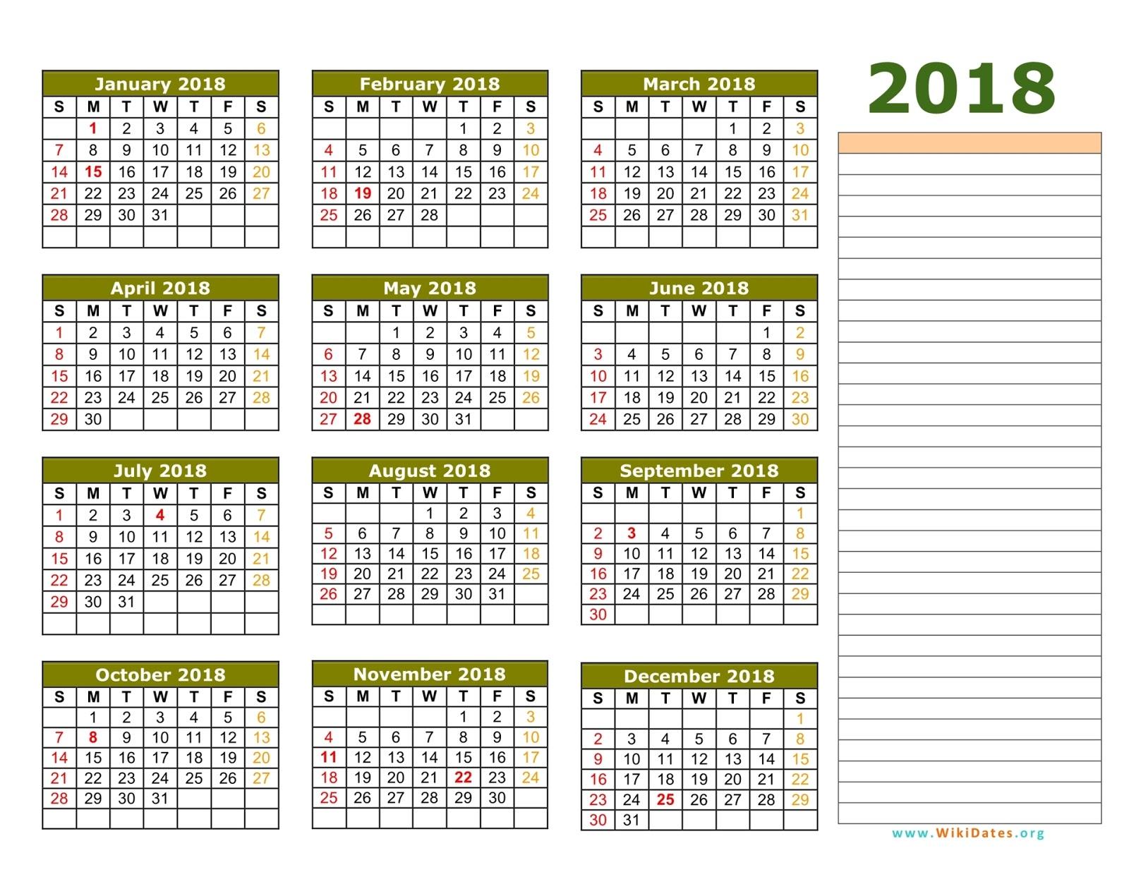 free yearly calendar 2018 printable