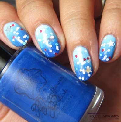 Patriotic glitter over a blue ombre for the Fourth of July