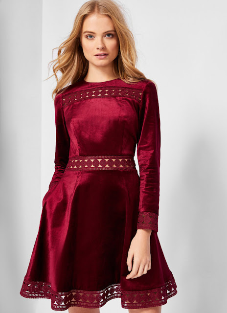 Red designer velvet dress
