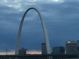 A photo of the Arch, taken as we arrived in St. Louis at sunset.