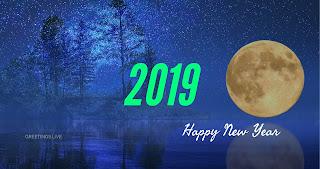 Blue night sky Moon 2019 greetings live 4k image
