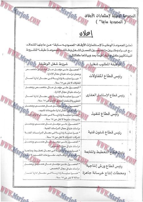 وظائف المجموعة الوطنية لاستثمارات الاوقاف - المحمودية سابقا - بتاريخ 9 / 11 / 2016