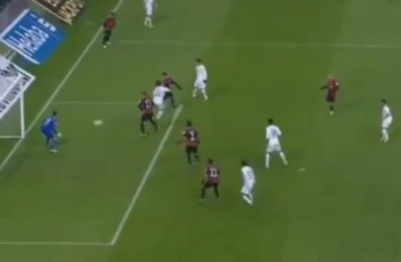 Hoffenheim player Kevin Volland scores against Eintracht Frankfurt with a cheeky back-heel