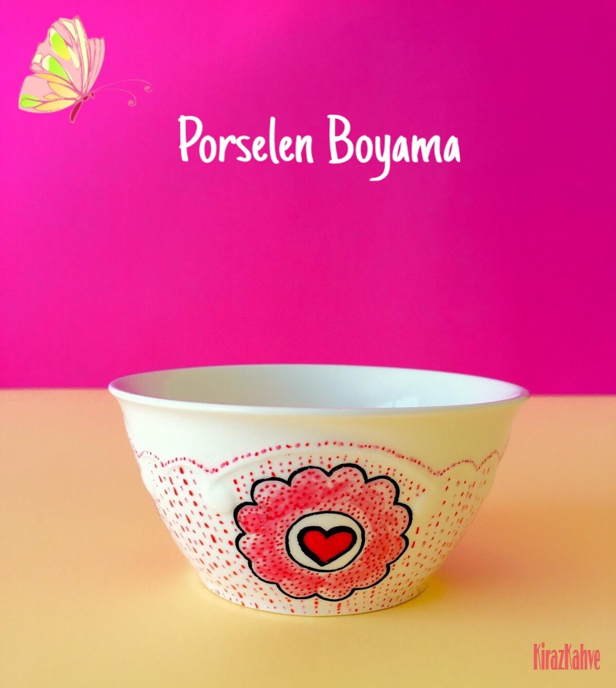 porselen boyama pembe kalpli