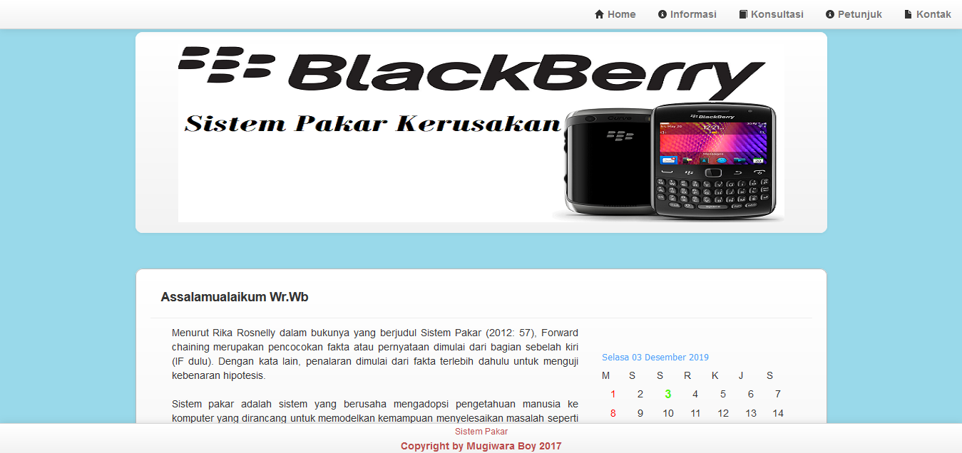 Aplikasi Sistem Pakar Kerusakan Handphone Blackberry Menggunakan PHP MySQL
