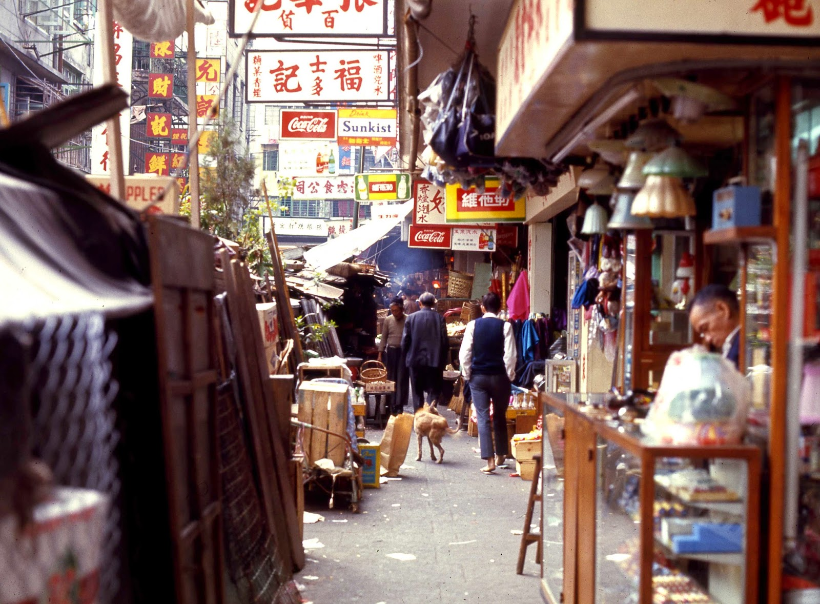 Hong Kong Market 1969 CocaCola and Sunkist signs
