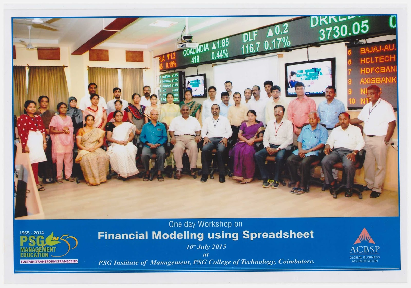 One day workshop on Financial modelling using spreadsheet at PSG ...