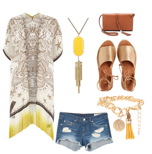 oufit includes cut off shorts tassel bracelet and handbag