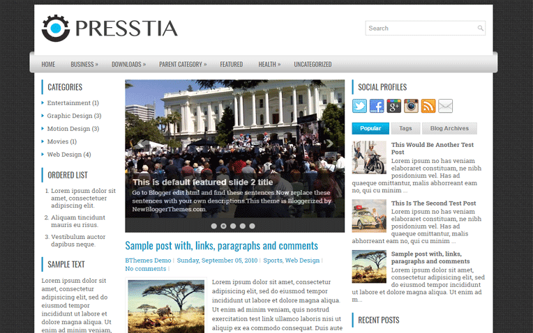 Presstia Free Blogger Template