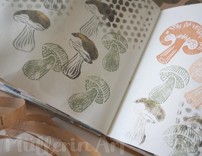 Buntpapierfabriks Pilzmuster im Skizzenbuch nach ©muellerinart