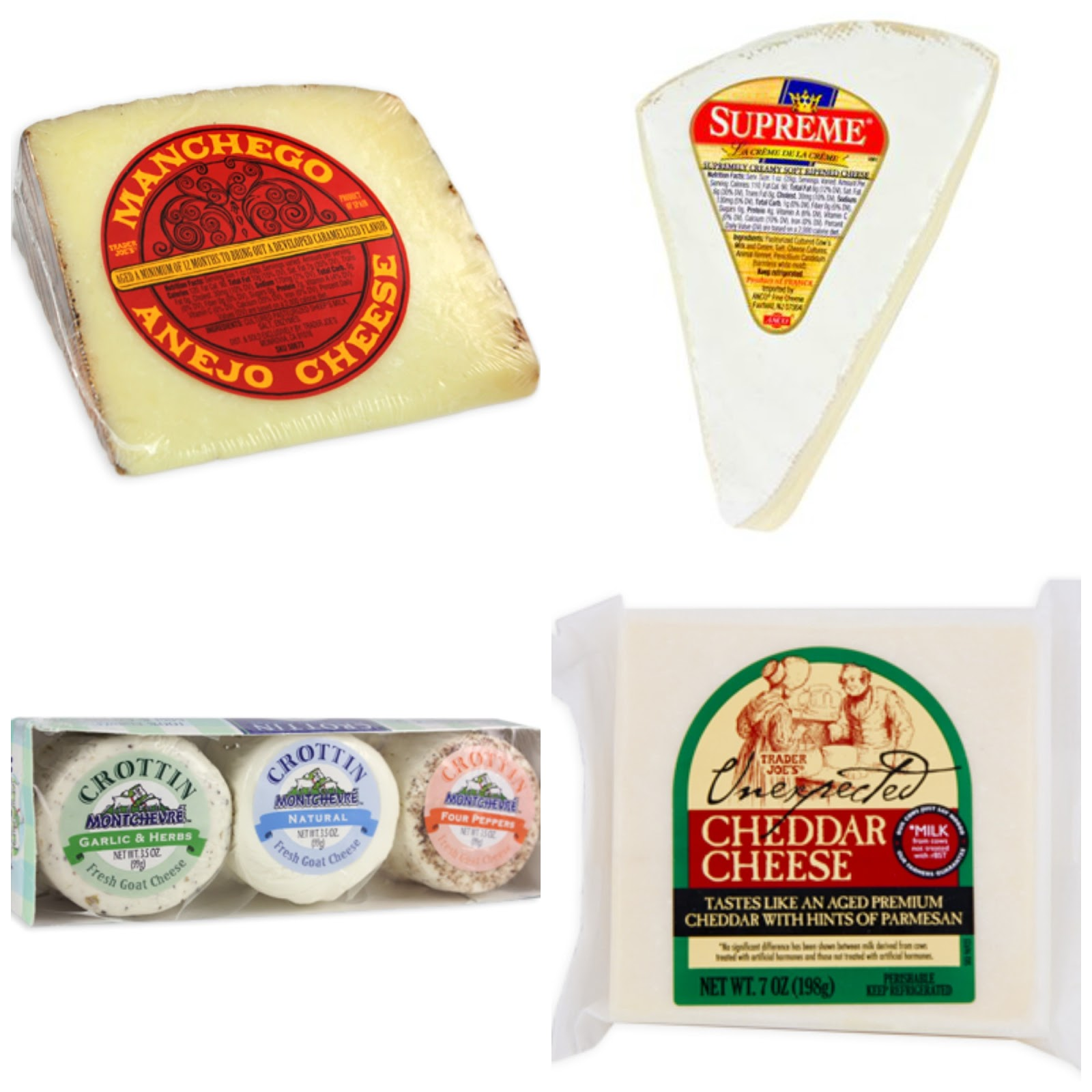 Manchego, brie, cheddar, and goat cheeses at trader joe's