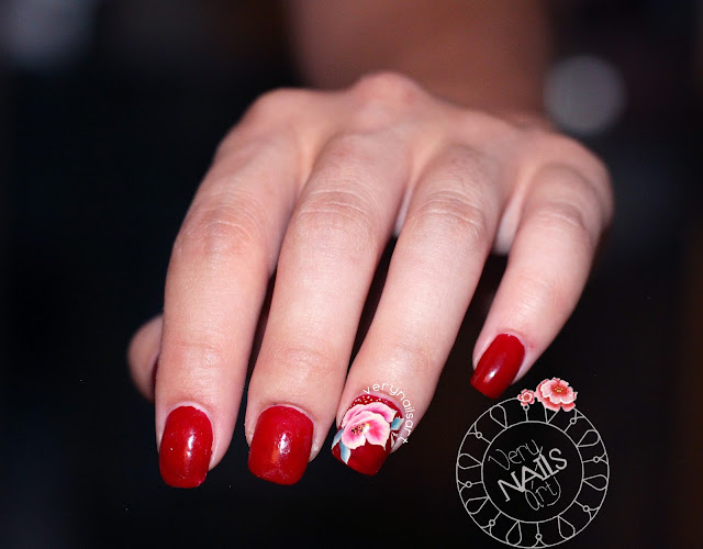 UÑAS DECORADAS | FLOR ROJA ONE STROKE