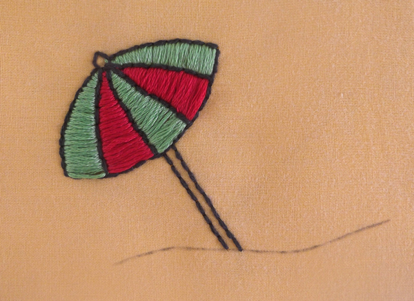 embroidery, satin stitch, umbrella