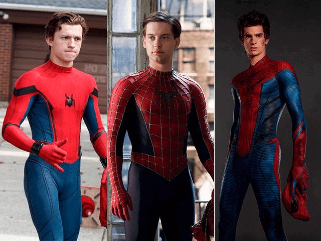 Foto montagem com os três atores que já viveram o Homem-Aranha no cinema