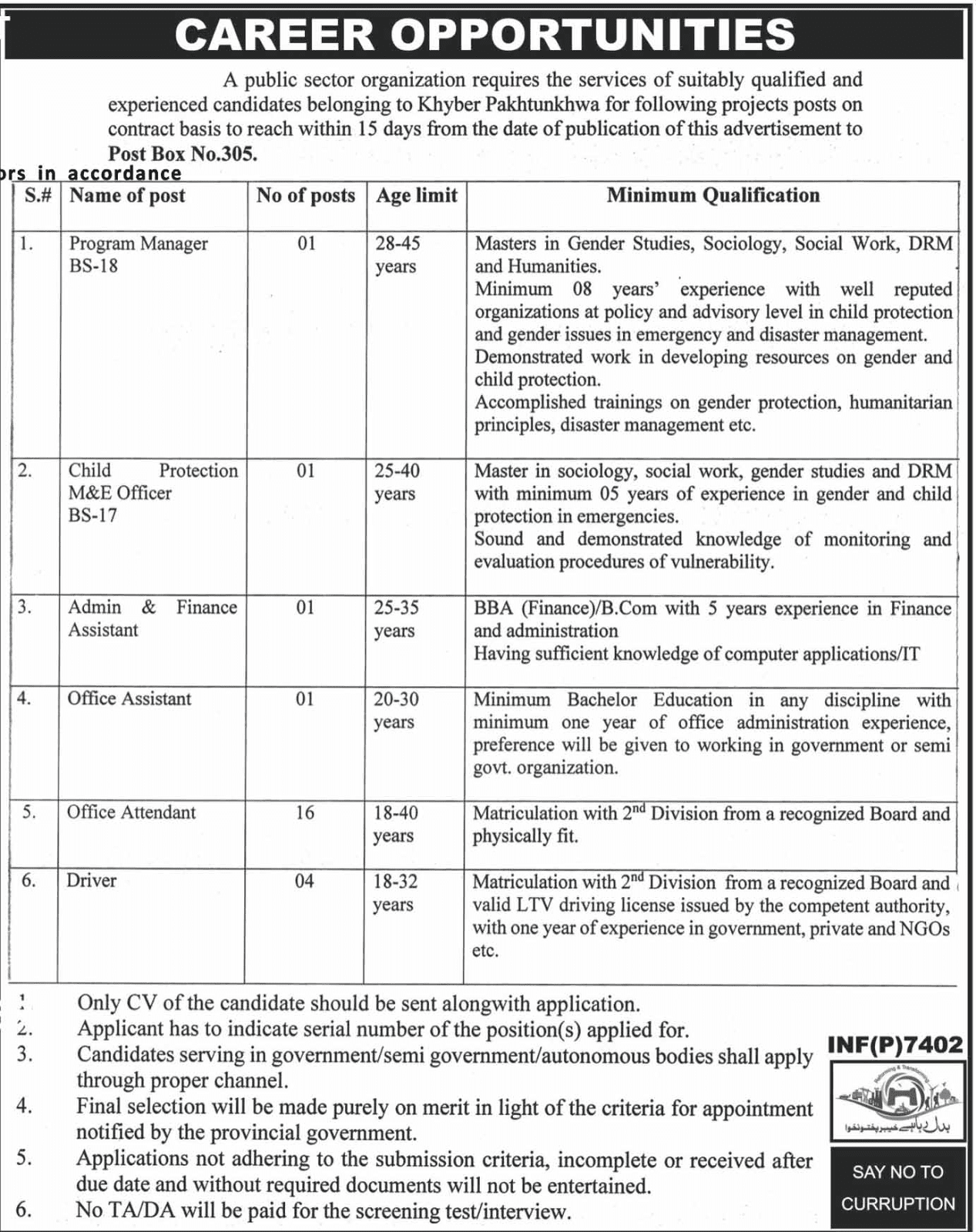 Public Sector Organization KPK Jobs
