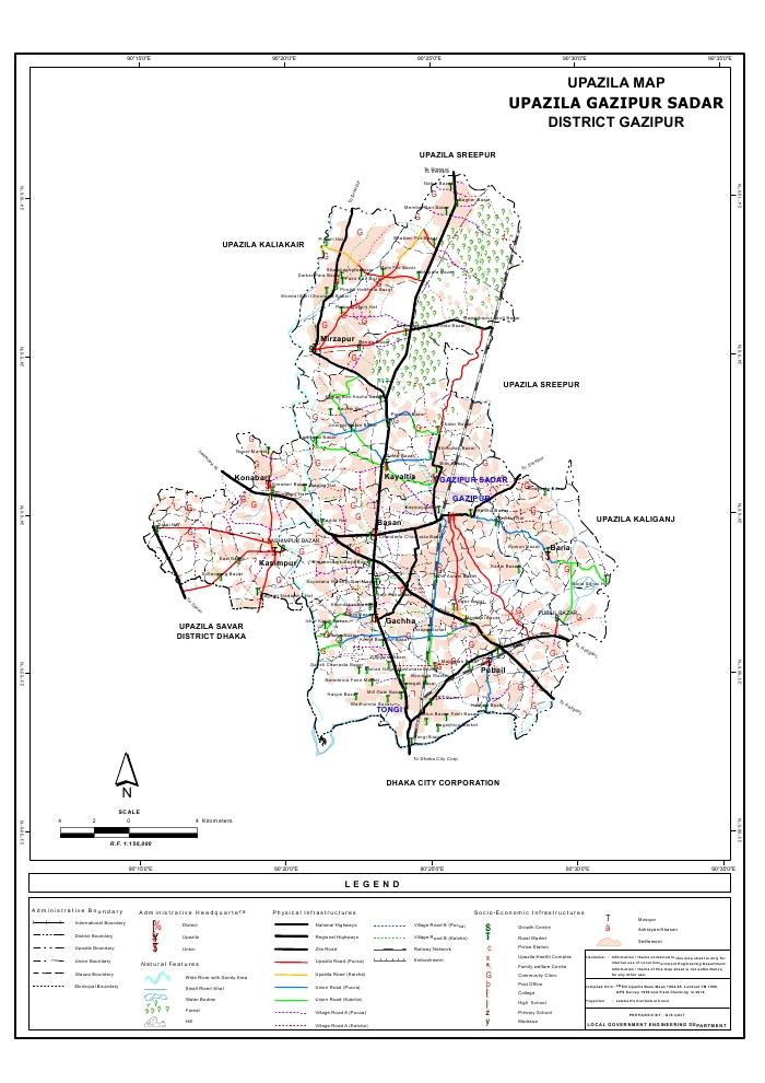 Gazipur Sadar Upazila Map Gazipur  District Bangladesh