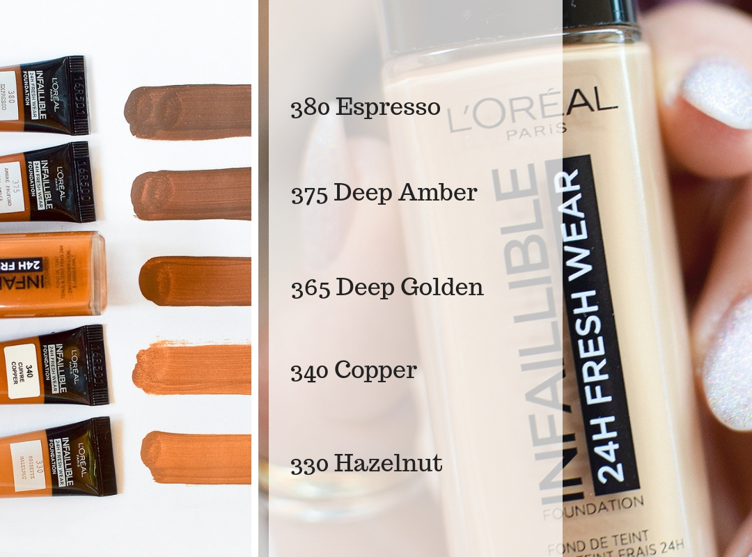 Swatches der neuen L'Oréal Infaillible 24h Fresh Wear Foundation