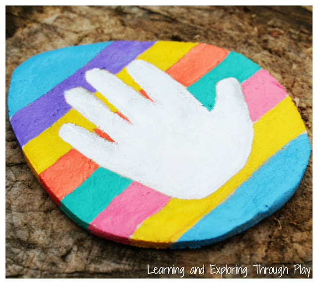 Salt dough Easter egg handprint craft idea for kids