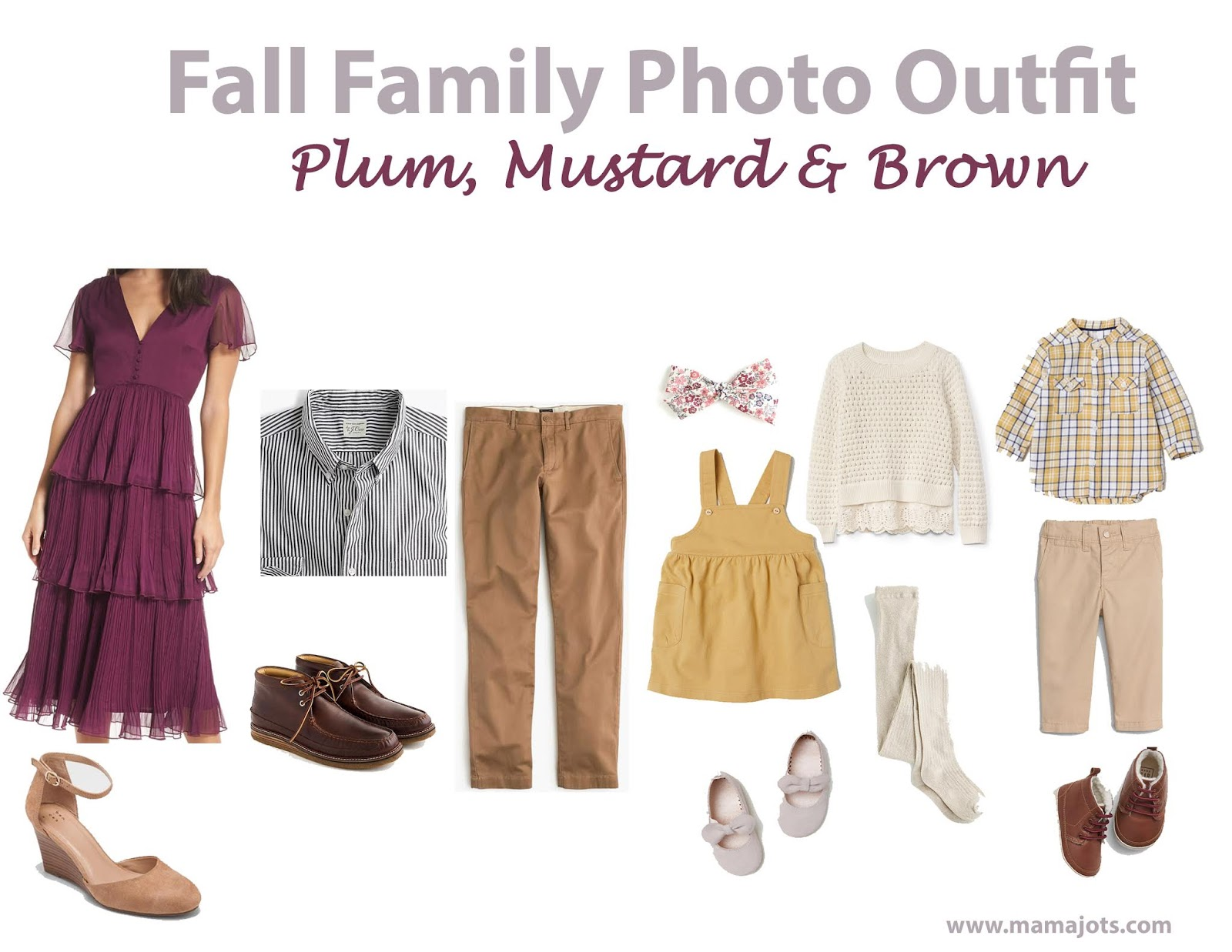 fall family photo outfit ideas plum, purple, brown, mustard