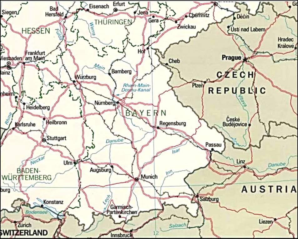 Kaart Duitsland En Bondslanden Kaart Beieren En Munchen