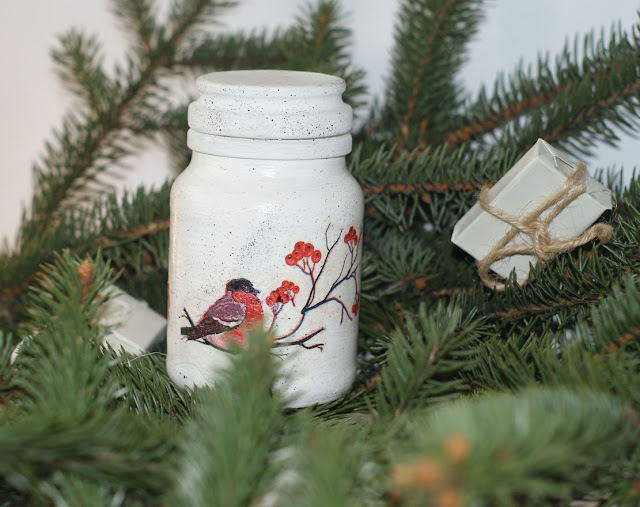 pomysł na prezent,zrób to sama,dekoracje za grosze,dekrowanie domu,ozdobne słoiki,decoupage zima