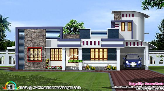 1890 Sq Ft Single Floor Modern House Plan Kerala Home