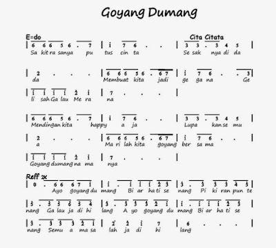 Not Angka Pianika Lagu Goyang Dumang