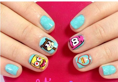 Idea Nails Art Sponge Bob Square Pants