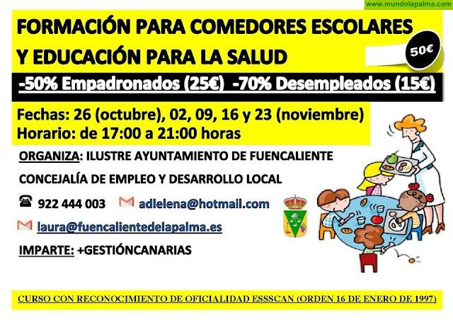 Formación para comedores escolares y educación para la salud en Fuencaliente