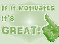 Picture quote reporting one of MotivateAmazeBeGREAT sayings: If it motivates it's great!