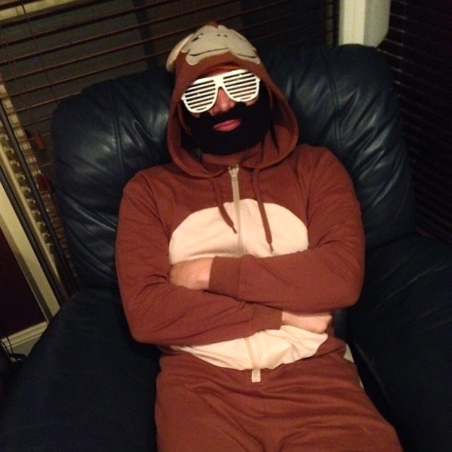 Monkey Man - Monkey Onesie, Shutter Shades and a Beard Beanie