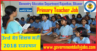 Rajasthan Teacher Recruitment 2018 Application form of 28000 Primary Teachers