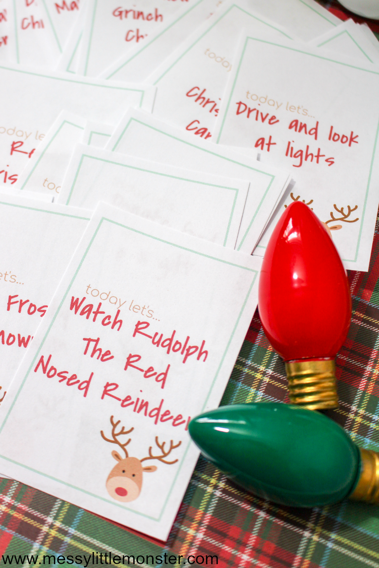 Printable advent calendar ideas. 30 fun advent calendar activities for kids.