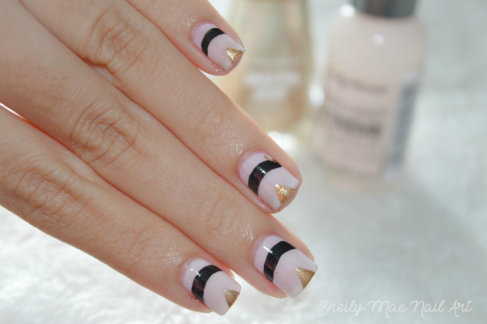 Nude Black And Gold Nails Sheily Mae Nail Art