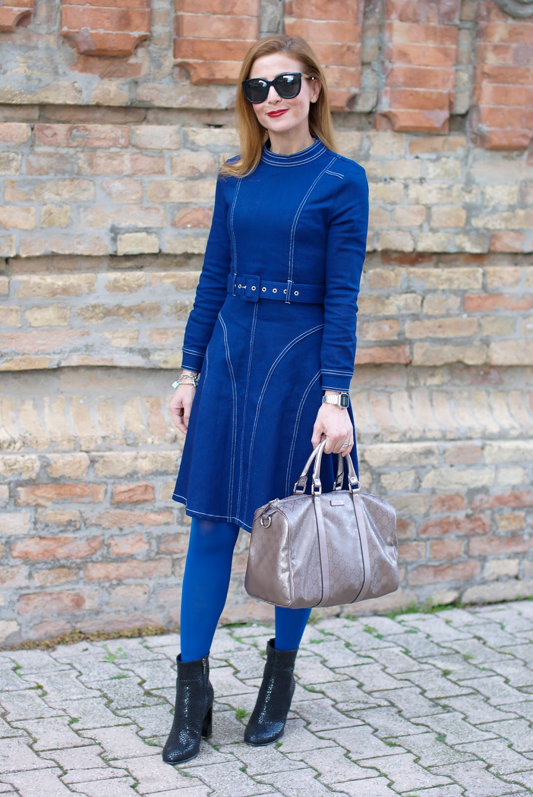 colored tights outfit with Dezzal dress, Gucci bag on Fashion and Cookies fashion blog, fashion blogger style