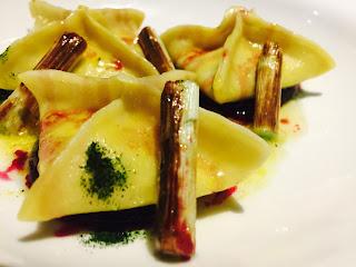 Pecorino Romano and mango samosas