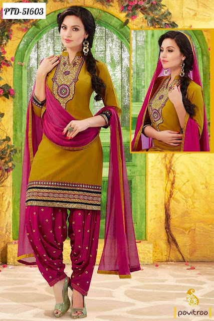 pink color cotton embroidery patiala salwar suit online with discount