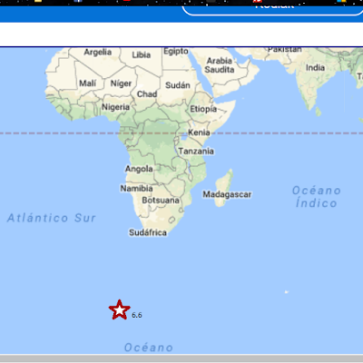 Epicentro sismo 6,6 grados en el Sudoeste de Africa, 28 de Enero 2018