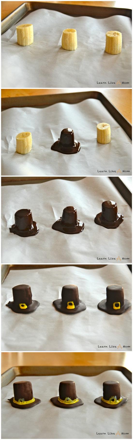 Banana and Chocolate Pilgrim Hats