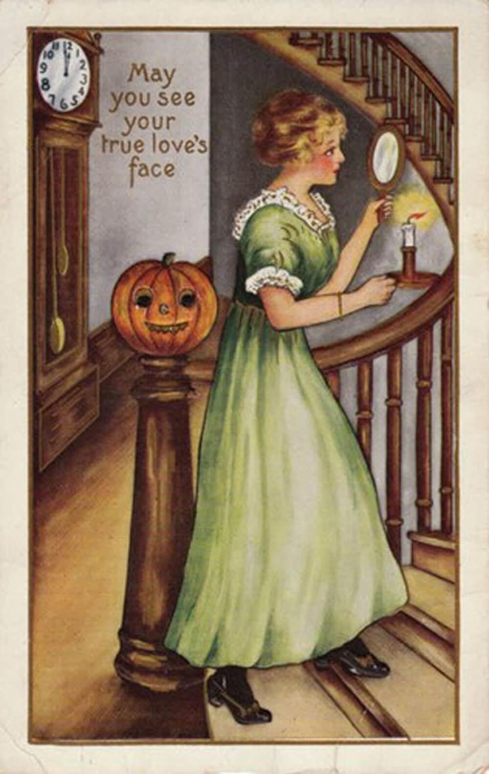 لوحة فنية منشور عن الهالوين يضم فتاة تحمل مرآة وشمعة في ليلة الهالوين ممتطية الدرج في البيت