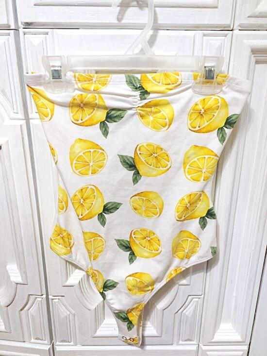 Forever 21 strapless lemon bodysuit