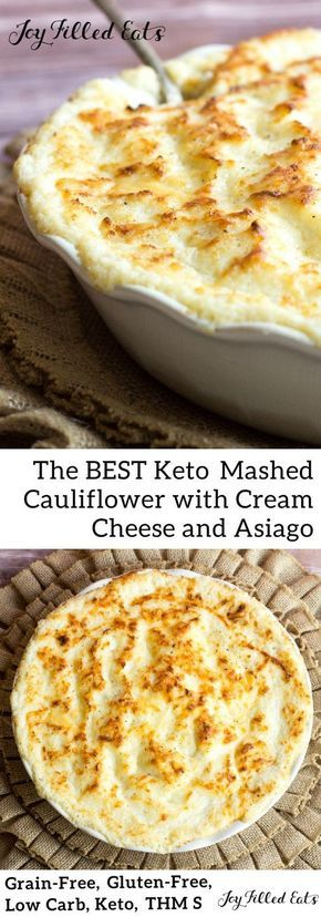 Keto Mashed Cauliflower with Cream Cheese and Asiago