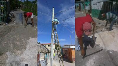 Alcaldía Barahona reconstruye badenes y dota de lámparas varias calles sector La Hortaliza