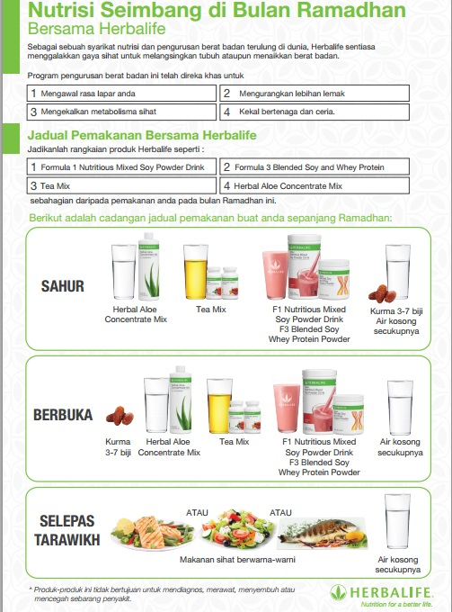 Cara Pemakanan Diet Herbalife Yang Betul Bathxilus
