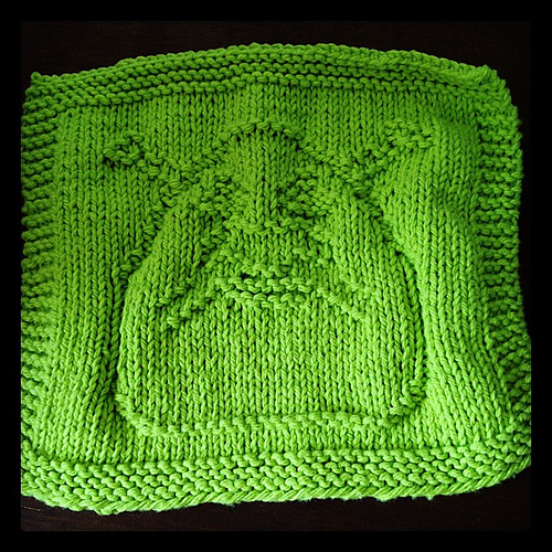 I also knit a cute little Shrek dishcloth for the package. I wound up  knitting this mostly at work on a slow Friday. This was pre-promotion days  LOL d327dd01888