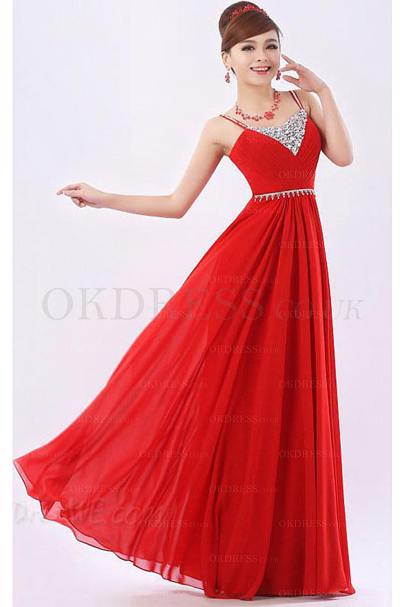 Red Sleeveless A-line Chiffon Prom Dresses