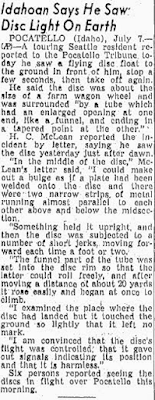 Idahoan Says He Saw Disc Light On Earth - Sacramento Bee 7-7-1947